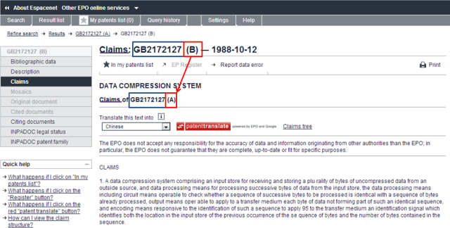 """GB patent kind code """"A"""" claims"""