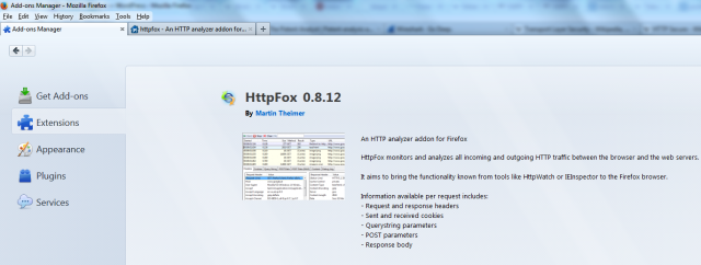 HttpFox Firefox browser add-on