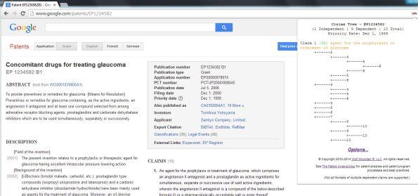 Google Patents EP claim tree