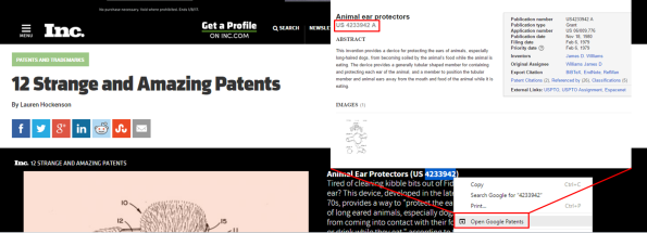 Open Google Patents Chrome extension