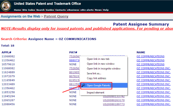USPTO Assignments Links - screenshot