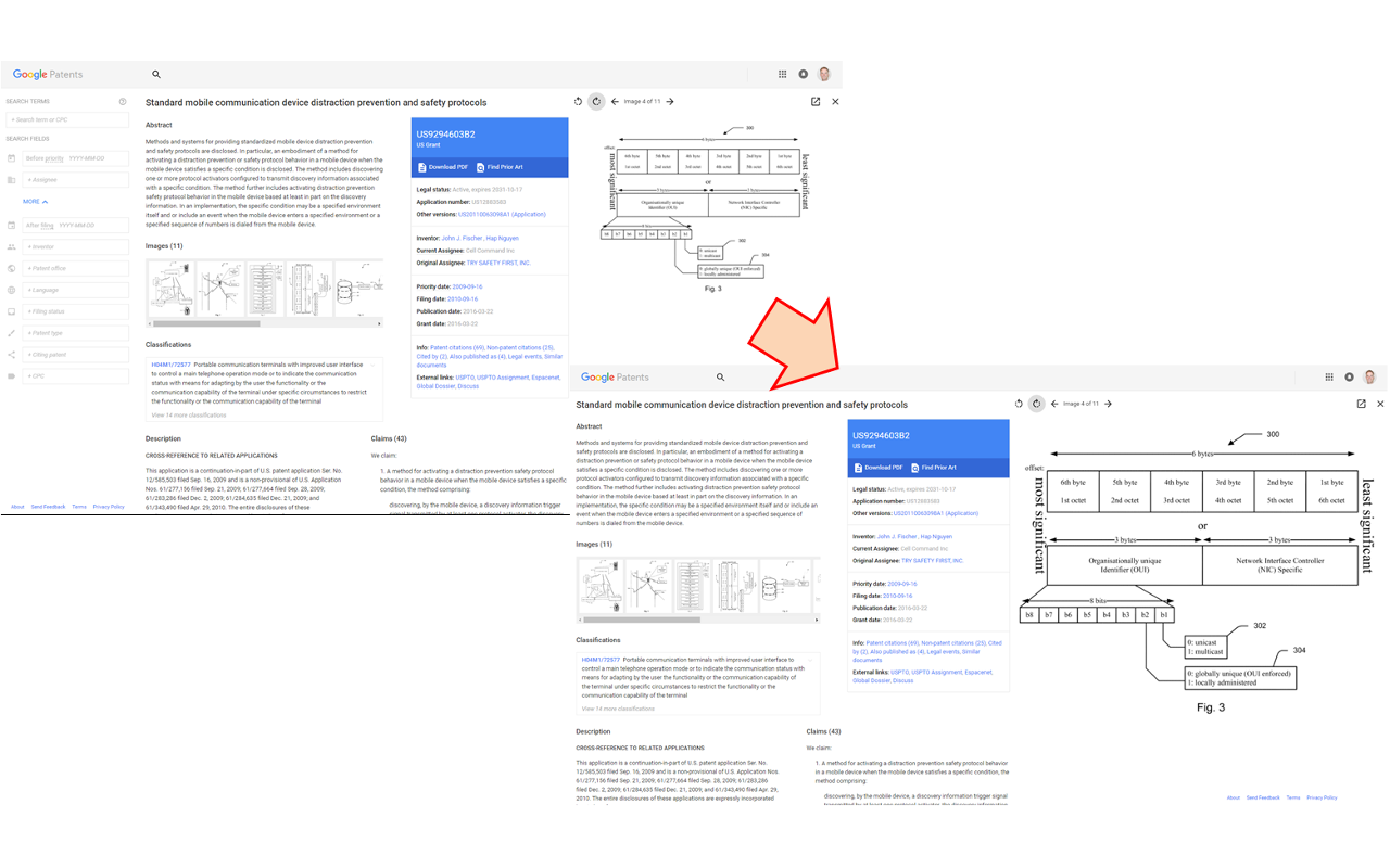 Google Patents Widescreen viewer